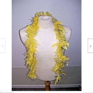 Yellow Feather Boa Silver Sparkle Scarf Wrap
